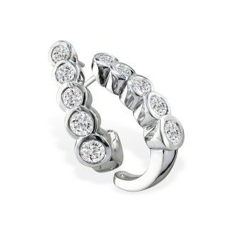 1ct Bezel Set Journey Diamond Hoop Earrings in 14k White Gold
