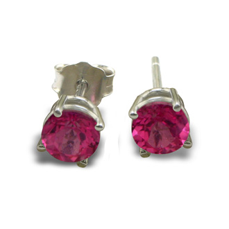 2/3ct Pink Topaz Stud Earrings in 14k White Gold