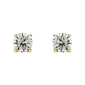 1/3ct Diamond Stud Earrings In 14k Yellow Gold, J/K Color, I1 Clarity
