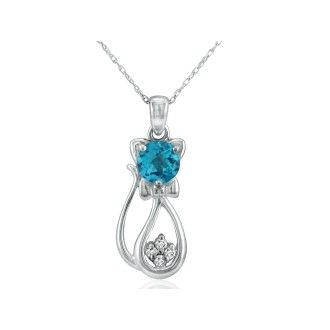 1ct Blue Topaz and Diamond Cat Pendant in 10k White Gold