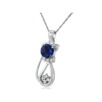 Sapphire and Diamond Cat Pendant in 10k White Gold