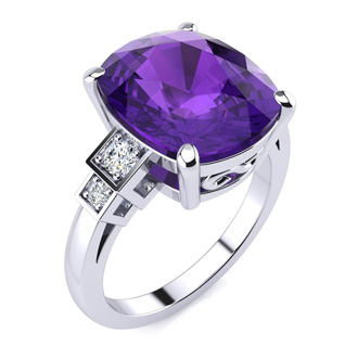 14k White Gold Cushion Cut 4ct Amethyst and Diamond Ring