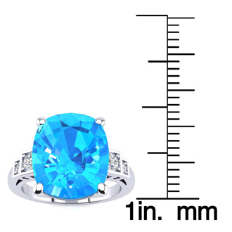 Cushion Cut 4ct Blue Topaz and Diamond Ring in 14K White Gold