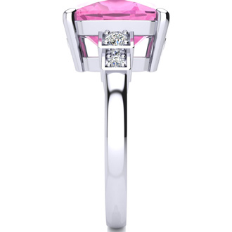 14k White Gold Cushion Cut 4ct Pink Topaz and Diamond Ring