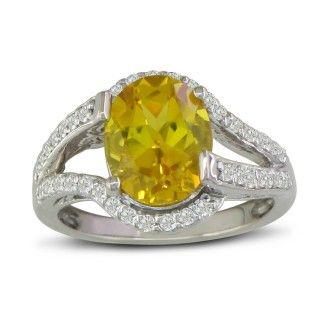 Split Band 3ct Oval Cut Lemon Quartz and Diamond Ring, 14k White Gold
