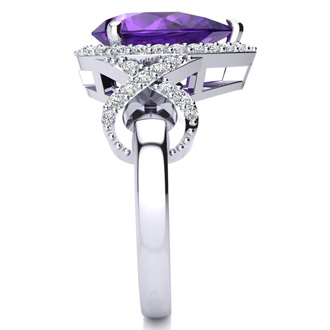 3ct Amethyst and Diamond Ring With X Shank Accents, 14k White Gold