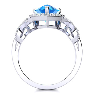 3ct Blue Topaz and Diamond Ring With X Shank Accents, 14k White Gold
