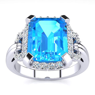 Interlocking 3.25ct Blue Topaz and Diamond Ring in 14k White Gold