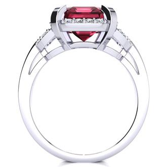 Interlocking Bit Fluted 3ct Garnet and Diamond Ring in 14k White Gold