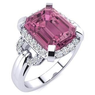 Interlocking 3ct Pink Topaz and Diamond Ring in 14k White Gold