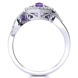 2 1/2ct Pear Shape Amethyst and Diamond Ring in 14K White Gold