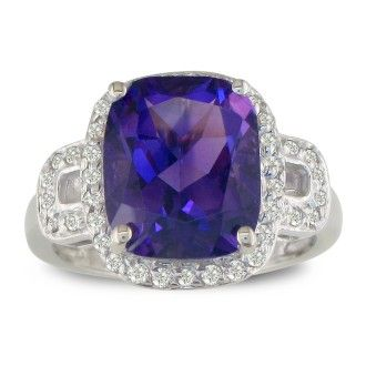 4ct Cushion Cut Amethyst and Diamond Ring, 14k White Gold