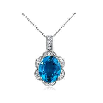 Large 4ct Oval Blue Topaz and Diamond Pendant Set in 14k White Gold