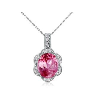 Large 4ct Oval Pink Topaz and Diamond Pendant Set in 14k White Gold
