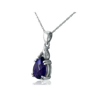 Amethyst Mouse Pendant in 10k White Gold