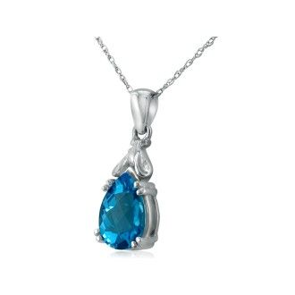 Blue Topaz Mouse Pendant in 10k White Gold