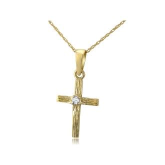 Diamond Cross Pendant in 10k Yellow Gold, 18 Inch Necklace