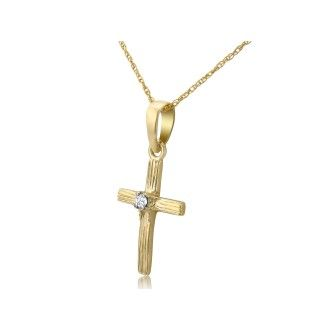 Diamond Cross Pendant in 10k Yellow Gold, 18 Inch Necklace