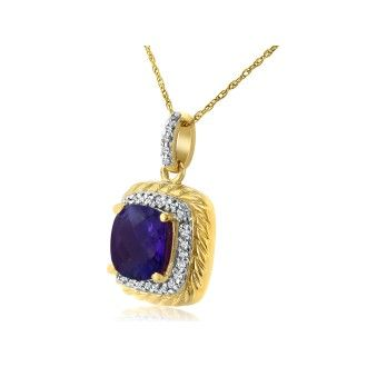 Rope Design Amethyst and Diamond Pendant in 14k Yellow Gold