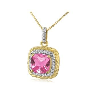 Rope Design Pink Topaz and Diamond Pendant in 14k Yellow Gold