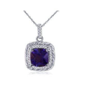 Rope Design Amethyst and Diamond Pendant in 14k White Gold