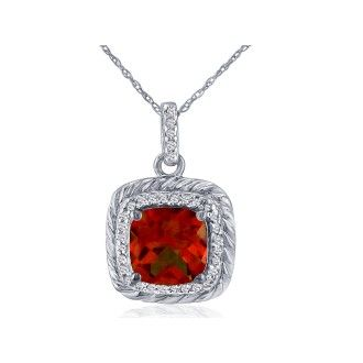 Rope Design Garnet and Diamond Pendant in 14k White Gold
