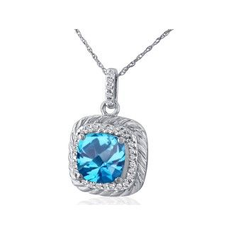 Rope Design Blue Topaz and Diamond Pendant in 14k White Gold