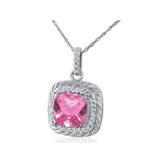 Rope Design Pink Topaz and Diamond Pendant in 14k White Gold