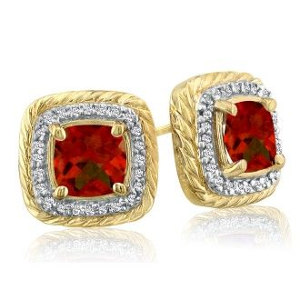 Rope Design Garnet and Diamond Earrings in 14k Yellow Gold