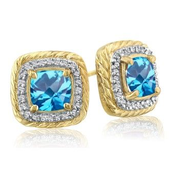 Rope Design Blue Topaz and Diamond Earrings in 14k Yellow Gold