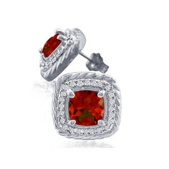 Rope Design Garnet and Diamond Earrings in 14k White Gold