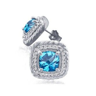 Rope Design Blue Topaz and Diamond Earrings in 14k White Gold