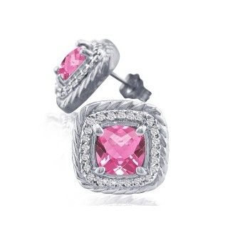 Rope Design Pink Topaz and Diamond Earrings in 14k White Gold