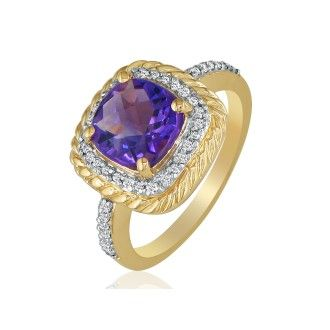 Rope Design Amethyst and Diamond Ring in 14k Yellow Gold