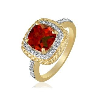 Rope Design Garnet and Diamond Ring in 14k Yellow Gold