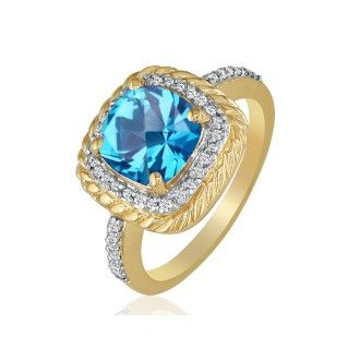 Rope Design Blue Topaz and Diamond Ring in 14k Yellow Gold