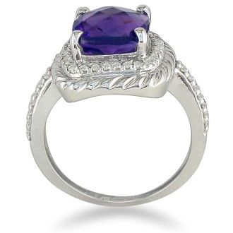 Rope Design Amethyst and Diamond Ring in 14k White Gold