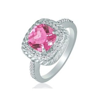 Rope Design Pink Topaz and Diamond Ring in 14k White Gold
