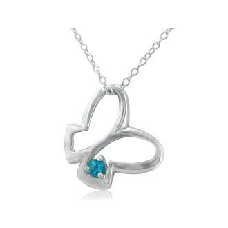 Sterling Silver Butterfly Pendant with Round Blue Topaz