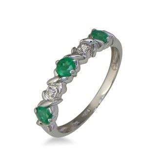 Emerald and Diamond Band in 10k White Gold