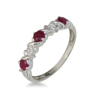 Ruby and Diamond Band in 10k White Gold