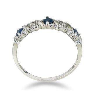 Sapphire and Diamond Band in 10k White Gold