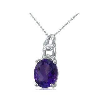 Chain Look 4ct Amethyst Pendant in 10k White Gold