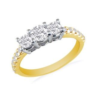 1ct Three Diamond Ring Bridal Set in 14k Yellow Gold, Diamonds on the Band