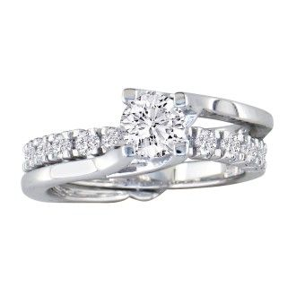 Interlocking Spiraling 7/8ct Diamond Bridal Set in 14k White Gold