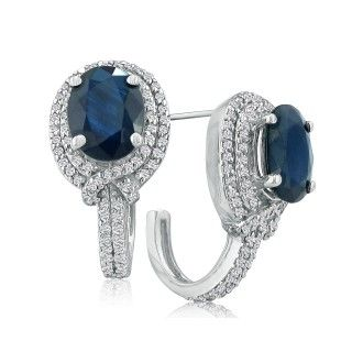 5 3/4ct Ladies Sapphire and Diamond Earrings in 14k White Gold