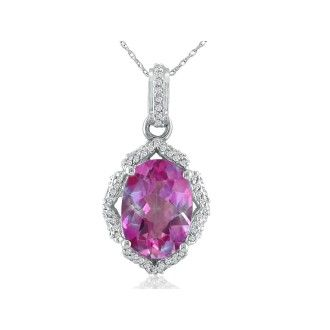 Enormous Pink Topaz and Diamond Pendant in 14k White Gold