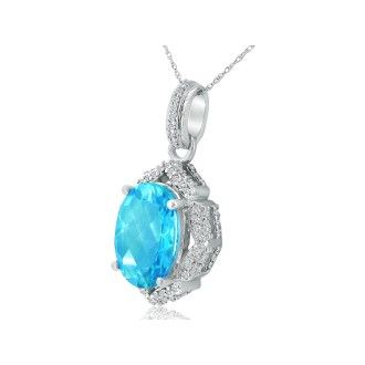 Enormous Blue Topaz and Diamond Pendant in 14k White Gold