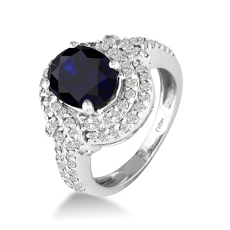 Master crafted 3ct Sapphire and Diamond Ring in 14k White Gold