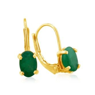 1 1/4 Carat Oval Shape Emerald Leverback Earrings in 14 Karat Yellow Gold